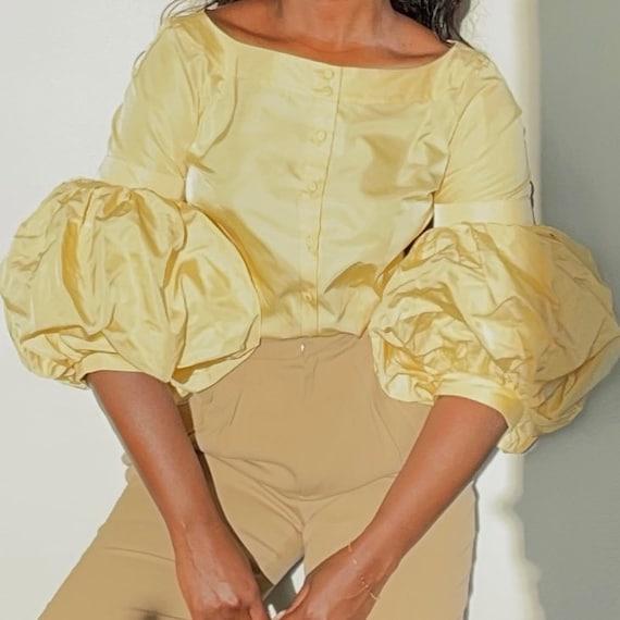Vintage ESCADA Pure Silk Butter Yellow Blouse