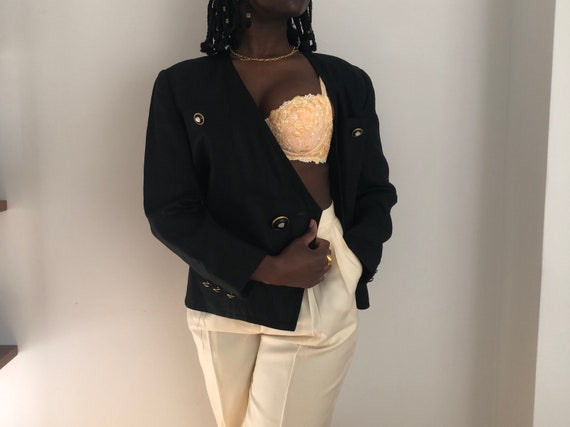 Vintage Italian Pure Linen Black Statement Blazer | Double-Breasted Black Blazer With Oversized Buttons