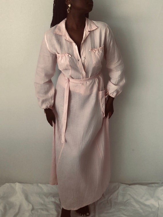Vintage 90s JACQUES RUC Long Pink Linen Skirt Suit With Bubble Sleeves