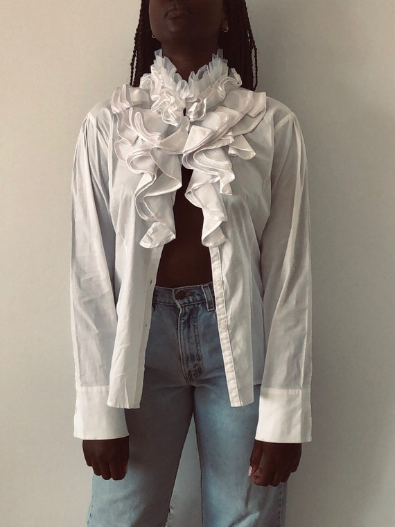 90s Cotton Optic White Statement Collar With Ruffl