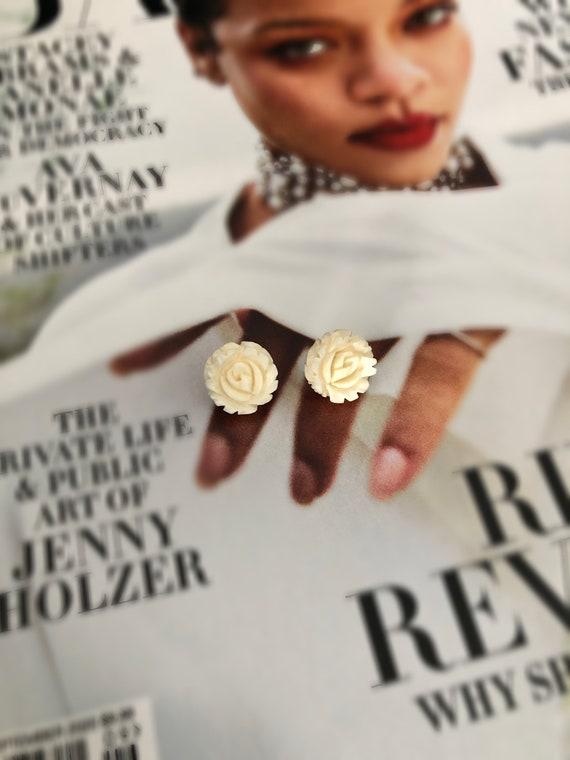 Vintage 14k Hand Carved Bone Rosette Stud Earrings