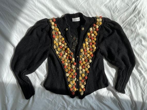 Vintage Austrian Black Wool Puff Sleeve Cardigan Sweater