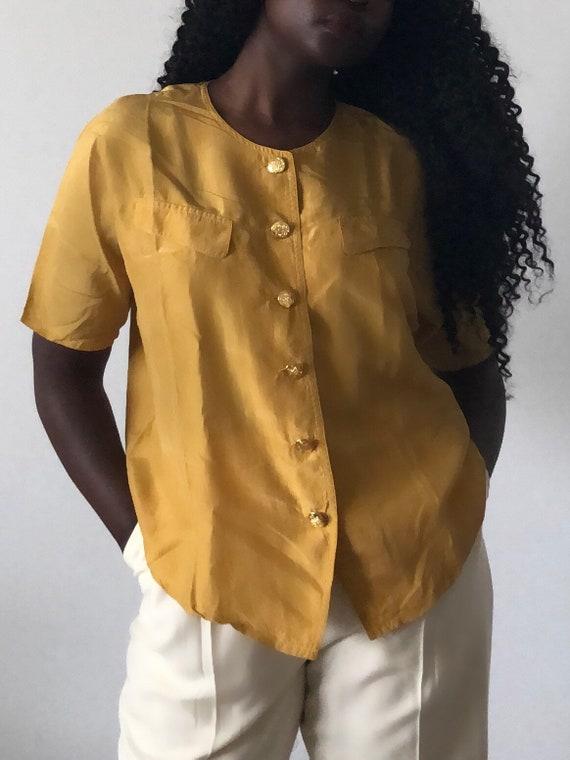 Vintage Pure Silk Mustard Yellow Short Sleeve Blou