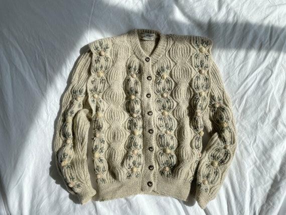 Vintage Wolkenstricker Handmade Wool Knit Cardigan Sweater