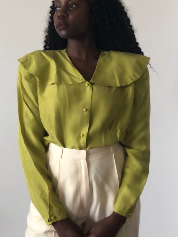 Vintage Pure Silk Chartreuse Green Oversized Peter