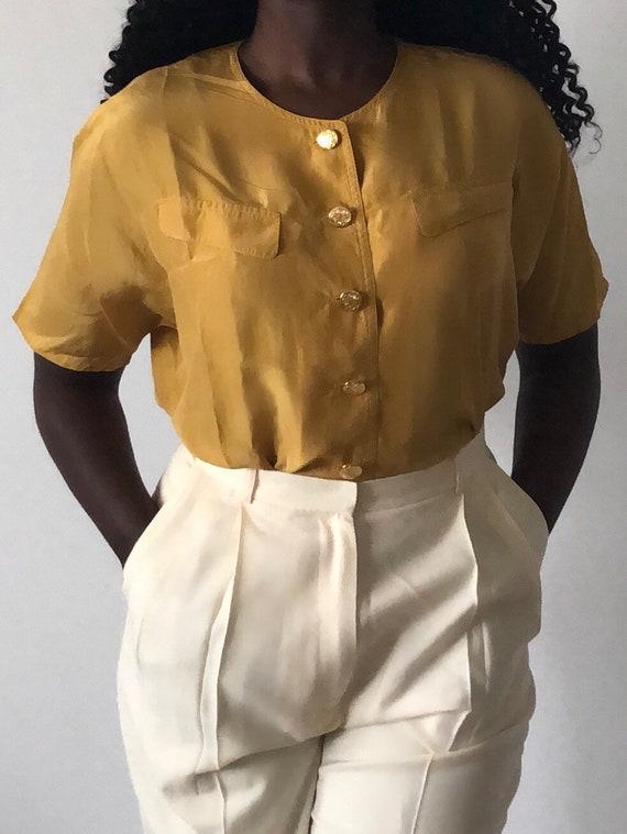Vintage Pure Silk Mustard Yellow Short Sleeve Blo… - image 3