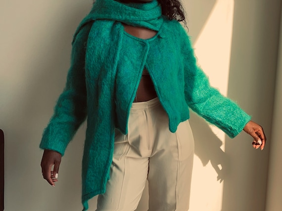 Vintage 80s Teal Cropped Mohair Coat