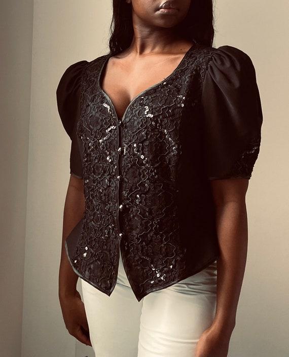 Vintage Exaggerated Puff Sleeve Black Embellished Short Sleeve Blouse