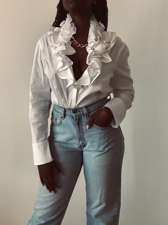 90s Cotton Optic White Statement Collar With Ruff… - image 4