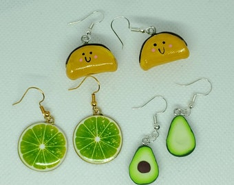 clip ons Taco Earrings vinyl fabric and nickel free hardware pierced