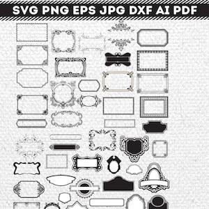 Vintage frame label Monogram SVG PNG EPS Digital Cutting Files  Clipart for iron on heat transfer decal vinyl 015C