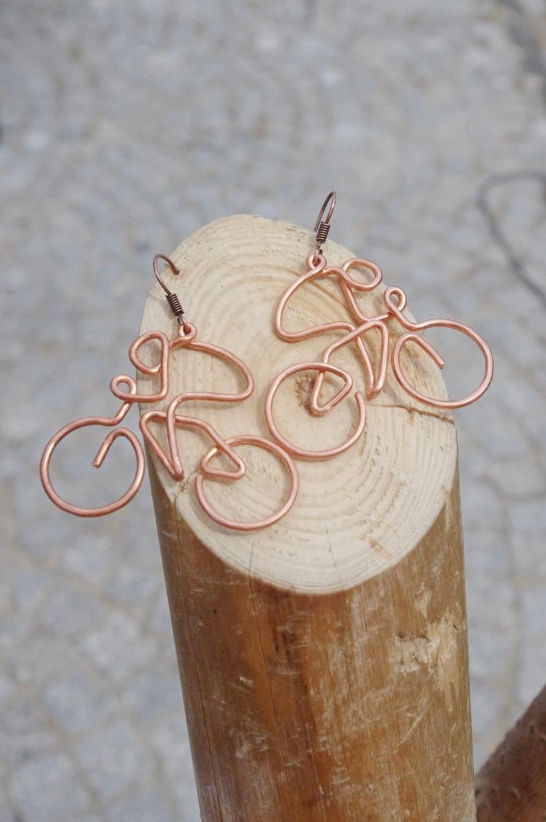 Dangle earrings for girl MTB earrings.One line drawing earrings Dainty cycling earrings Copper wire wrapped earrings Cycler/'s jewelry