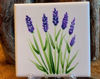 Lavender Mini hand painted ceramic tile Ornament Magnet