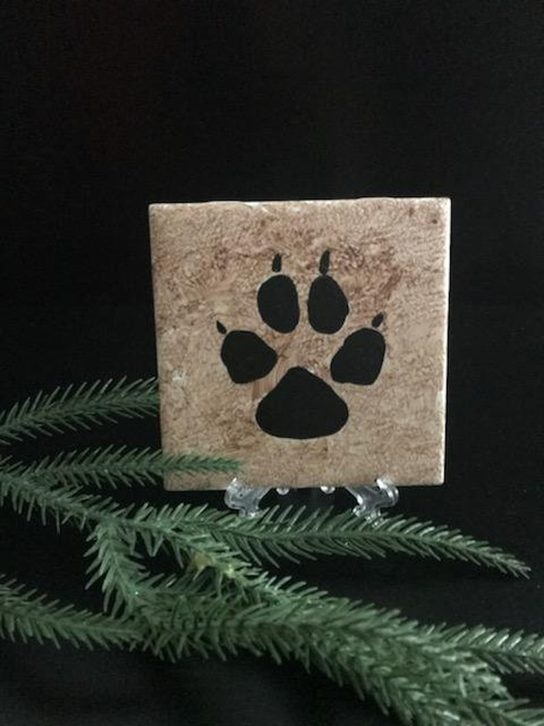 Coyote Paw hand painted ceramic tile Ornament Wall Art Home Decor