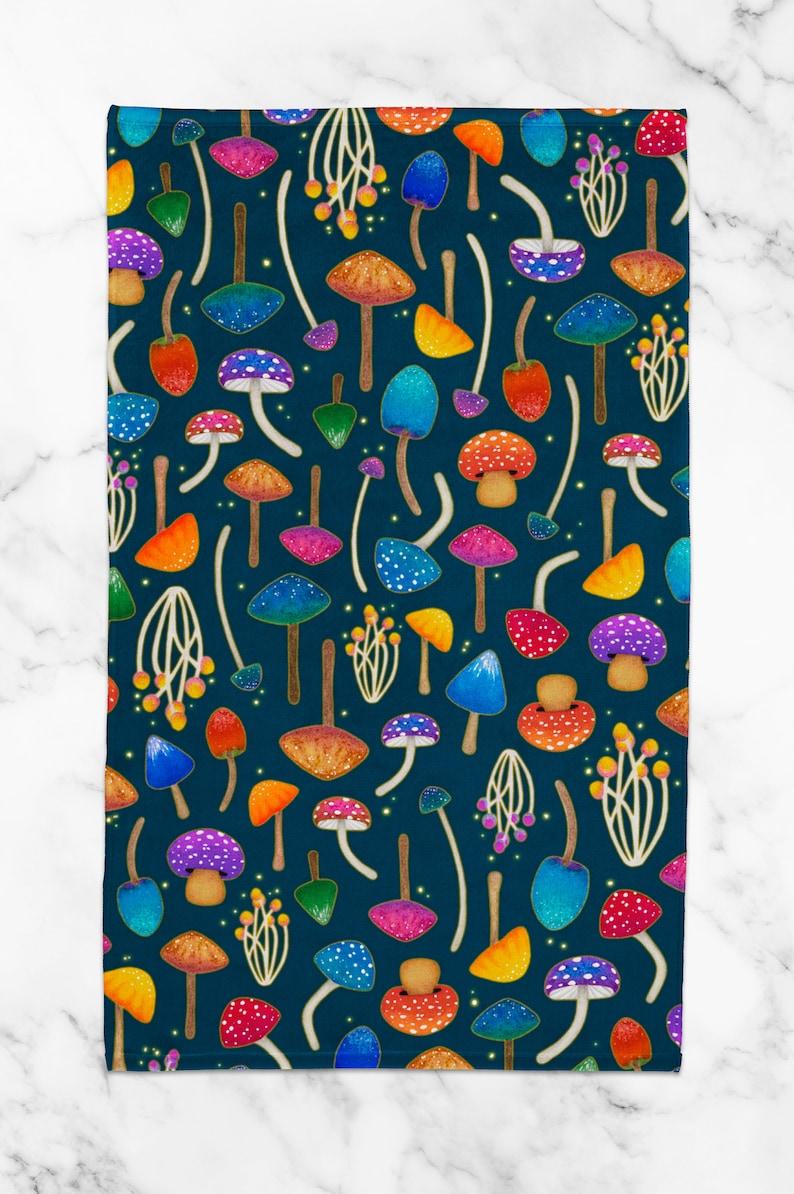 Bathroom Hand Towel Mushroom Art Dish Towel Toadstool Decor Mushroom Decor Mushroom Print Kitchen Towel Tea Towel