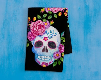 Day Of The Dead Kitchen Towel - Sugar Skull Decor - Hand Towel - Tea Towel - Sugar Skull Kitchen Decor - Day Of The Dead Decorations - Black