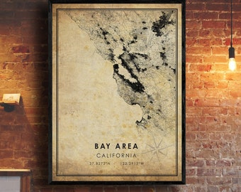 Bay Area Map Art – Greater bay area at night.