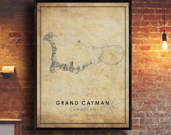 Cayman Islands Map art poster print wall decor Travel Map office home Gift
