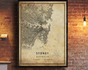 Australia Flask Globe Trotter Gift Aussie Booze Map of Sydney Australia Antique Austrailia Map Vintage Sydney image
