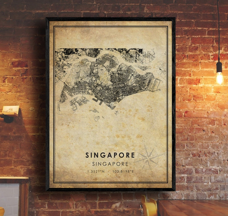 Asia Map Art Singapore Vintage Map Print Vintage Gift Map Singapore Map Singapore City Road Map Poster