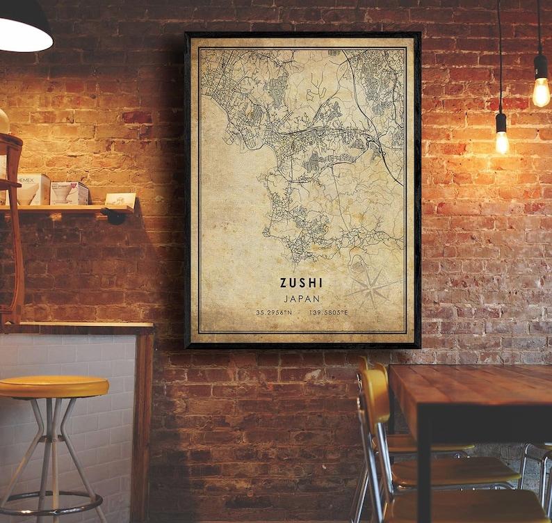Vintage Gift Map Japan Map Art Zushi City Road Map Poster Zushi Map Zushi Map Print