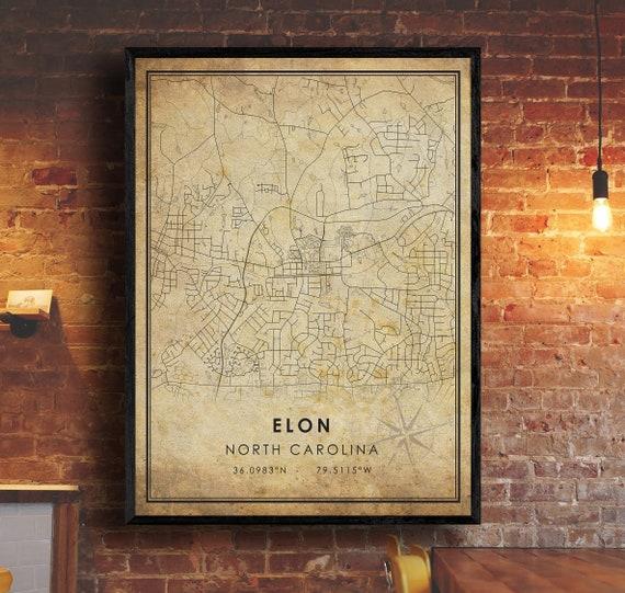 Greensboro North Carolina Map Greensboro City Road Map Poster Canvas Greensboro Vintage Map Print