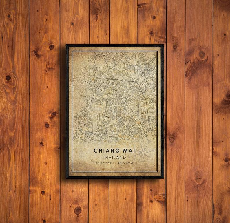 Chiang Mai Vintage Map Print Thailand Map Art Vintage Gift Chiang Mai City Road Map Poster Chiang Mai Map