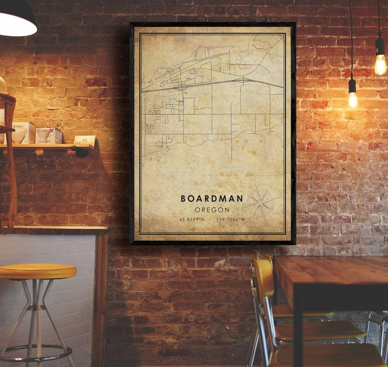 Boardman City Road Map Poster Vintage Gift Map Boardman Map Oregon Map Art Boardman Vintage Map Print