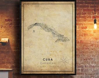 Cuba Vintage Map Print   Cuba Map Art   Cuba Country City Road Map Poster   Vintage Gift Map
