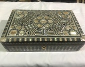 Egyptian Wood Jewelry Box Inlaid Mother of Pearl Handmade 10.6 x 6.6 x 3 inches