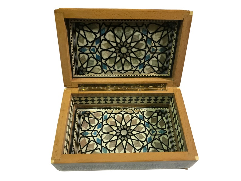Egyptian Wood Jewelry Box Inlaid Mother of Pearl Handmade 8 x 5 x 2.8 inches