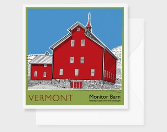 "Vermont Rural Barn Art Print Greeting Card, blank inside, 5"" x 5"" with white envelope,"