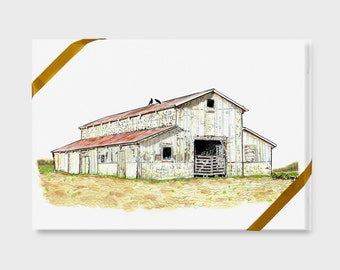 Carolina Collection, farm building notecards gift box, 4 pack, blank inside, A2, 4-1/2 x 6 inch size, pen & ink, watercolor art print