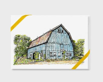 """North Carolina Farm Notecards Gift Box, 4 pack with envelopes, Blank inside, A2, 4-1/2"""" x 6"""" size, Watercolor, Pen and Ink Art Print"""