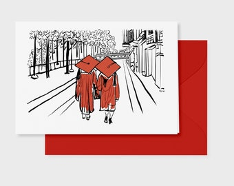 Red Graduation card, pen ink watercolor art print, with red envelope, 5 x7 inch blank inside, two grads walking