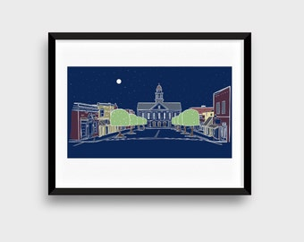 """Downtown Pittsboro North Carolina at Night, Framed & Matted Giclee Art Print, 27"""" x 18"""", Home Office Wall Decor"""