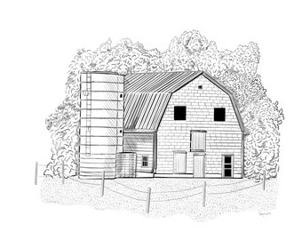 Farm Barn and Silo Pen and Ink Small Framed Art Print on Metal, 10x13 inch, black white art for kid's bedroom or home office wall decor