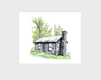 Log Cabin with Stone, Mountain Art Print Giclee, 8x10 inch small, unframed, unmatted watercolor pen & ink wall decor