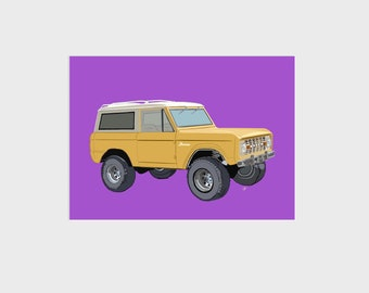 Vintage Ford Bronco SUV Truck Giclee Art Print, Yellow with Fuchsia background, 9x12 inch, Beach Gift Home Office Kids Bedroom Wall Decor