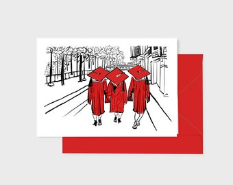 Red Graduation card, pen ink watercolor art print, with red envelope, 5 x7 inch blank inside, three grads walking