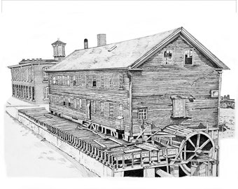 Old Mill Pen and Ink Fine Art Printed on Aluminum Metal, 13 x 19 Framed, small home office wall decor, Greenville, South Carolina