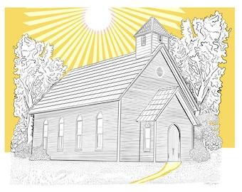 Sunburst Church Pen Ink Fine Art Print Aluminum Metal Framed Wall Decor, 12 x 15 x 2 inch