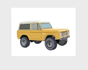 Vintage Ford Bronco SUV Truck Giclee Art Print, Yellow, 9x12 inch, Beach Gift Home Office Kids Bedroom Wall Decor
