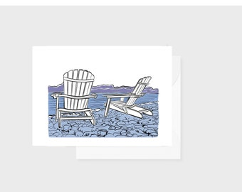 Adirondack Chairs Art Print Greeting Card, Blue Lake Purple Mountains, 5 x 7 inch, blank inside, New York Vermont Vacation Gift
