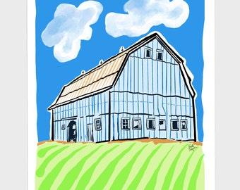 Colorful Fun Blue Farm Barn Framed Art Print on Metal, 10x13 inch, Nursery, Kid's Bedroom Home Wall Decor