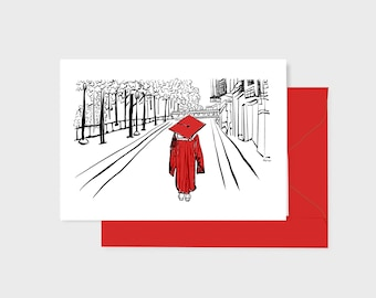Red Graduation card, pen ink watercolor art print, with red envelope, 5x7 inch blank inside, one grad walking