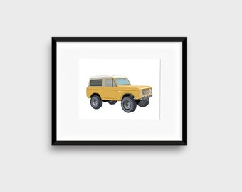 Ford Bronco SUV Digital Download Vintage Classic Car Printable Art Print, Home Office, Garage Workshop wall decor