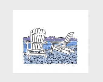 Adirondack Chair Lake Giclee Art Print, 8x10 inch, Beach Vacation Relax Blue Mountains, vacation wall decor for home office, dorm