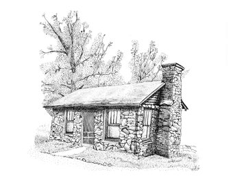 Log Cabin Mountain Home Pen Ink Art Print on Aluminum Metal, unframed, home office wall decor, 2 sizes available