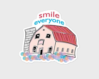"""Small Fun Colorful Barn Vinyl Sticker """"Smile Everyone"""" Laptop or Electronic Skin, Water bottle Decal, 3 inch"""
